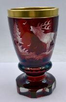A Bohemian Beaker red glass with etched figures of Stag, possibly 1920's AF
