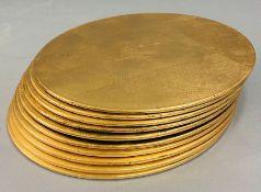 A selection of gold colour place mats