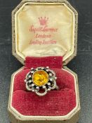 A Citrine style vintage ring