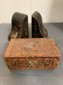 A pair of Japanese black and gold lacquer bookends (H16cm W9cm) and one carved box with brass