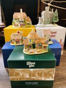 A selection of five Lilliput Lane buildings in boxes with deeds.
