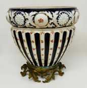 A large Anglo china England pot on brass stand AF
