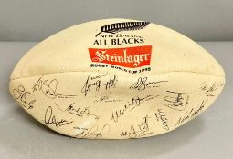 New Zealand all black souvenir rugby ball with printed players signatures