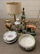 A selection of ceramics including Staffordshire style flat back and lamps