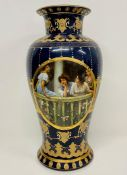 A blue and gilt vase