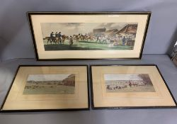 """Three horse racing prints, including """"Ipswich-Weighing"""", framed and glazed (75cm x 33cm)."""
