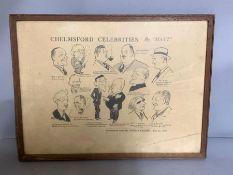 "A print by ""Matt"", ""Chelmsford Celebrities"", framed and glazed,"