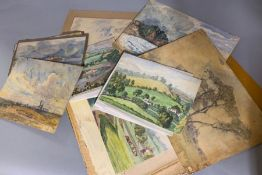 A portfolio of English mid 20st century watercolours, unsigned and unframed.