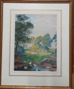 A watercolour signed: 'F.C.R. Frost', framed and glazed, (30x23 cm).