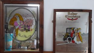 A pair of Vintage pub mirror-advertising, (69x54 cm largest). (2)