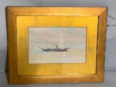 Frederick Thomas Daws (1878-c.1956) British, 'Steam boat', signed, oil on board, framed, (23cm x