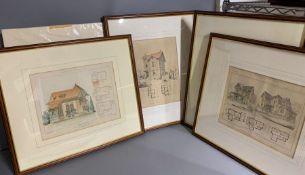 A group of four framed 'La Construction' and one unframed (29cm x 24cm) (Frame 52cm x 47cm).