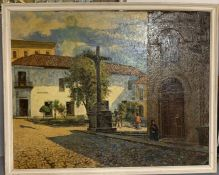 """Emilio Moncayo (1898-1970), """"Outside a South American church"""", signed lower right, oil on canvas,"""