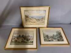 """A group of three English watercolours, in the back a note: """"Gabriel"""", framed and glazed, (28cm x"""