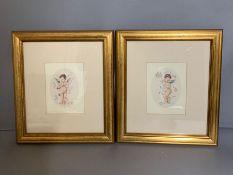 A pair of prints depicting two cherubs, framed and glazed, (11cm x 15cm) (Frame 30cm x 34cm).