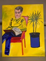 A 20th century English school, 'Man reading and plant', signed: 'MPC', acrylic on canvas,