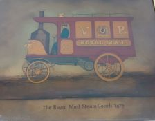"""""""The Royal Mail Steam Couch 1879"""", a print underglass, (25x32 cm)."""