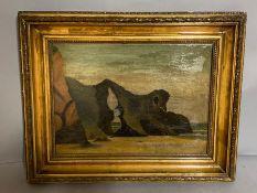 English school, 'Rocks', oil on canvas, within a gilded frame, (39cm x 28cm).