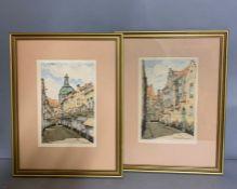 A pair of London street scenes, signed prints, one unglazed (18cm x 27cm)