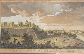 """""""Perspective view of the Castle or Royal Palace at Windsor in Berkshire"""", a fine original copper"""