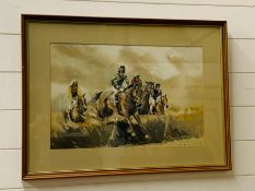 A racing watercolour by Eric H Day, framed and glazed,