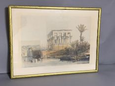 ´The Temple at Phile', a print after David Roberts, framed and glazed.