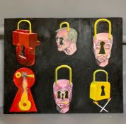 A 20th century English school, 'Padlock heads', probably by 'MPC', acrylic on canvas, unframed, (