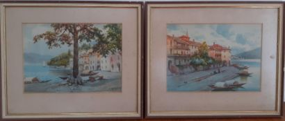 A pair of Italian views, gouache, illegibly signed (Boni?), framed and glazed, (19.5x27 cm). (2)