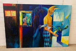 A Claire Mcknight canvas , unframed(183cm x 124cm).