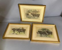 Three prints depicting cattle, framed and glazed.