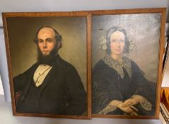 A pair of 19th century American school, 'Mr and Mrs portraits', oil on canvas, framed, (78cm x