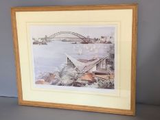 A print of the Sydney Opera, signed and numbered 1245/2000, framed and glazed, (43cm x 33cm) (