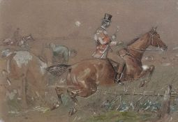 A mid 20th century British School, 'Fox hunting scene', unsigned, gouache on paper, framed and