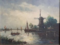 A 20th century Continental School, 'Moonlit river scene with a windmill', illegibly signed: '