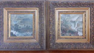 'Vedutas', a pair of hand-coloured prints, (14x14 cm). (2)