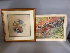Screen print and needle work, oriental school, (broken glass).