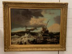 An oil on canvas of a nautical costal theme