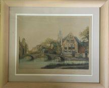20th century English school, ´Dutch river scene and bridge´ signed ´James A Carter´, print, framed