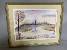 """""""Winter landscape"""" by Ruth A. Jeffrey, signed and dated 1995, watercolour, glazed and framed, ("""