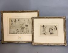 A pair of Russell Flint prints, within a French style frames, glazed (27cm x 19cm).