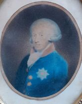 A royal (George II?) with the Garter star medal, a hand-coloured print within a gilded oval and