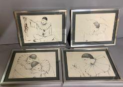 A group of four Pierrots by Joyce Panos, framed and glazed (30cm x 23cm) (Frame 37cm x 30cm).