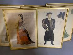 """A group of eight coloured prints of """"Six wives of Henry VIII"""" by John Bloomfield (1942), framed"""