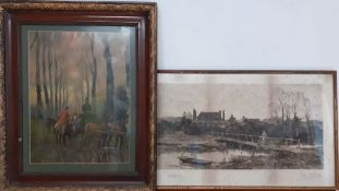 A pair of prints, one illegibly signed with pencil, framed and glazed, (33x58 largest). (2)