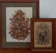 A print and a leafwork, (39x29 cm largest). (2)