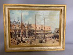 A print on canvas after Canaletto, 'Piazza San Marco: Looking South-East' (in the National Gallery