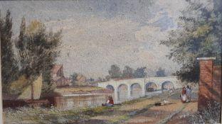 Attributed to William Howes Hunt (1806-1879) British, 'Maidenhead Bridge' (?), gouache on paper,