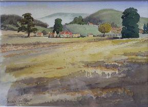 "Denis Gilbert (b. 1922) British, ""Landscape in Kent"", signed lower right, titled label verso,"