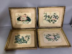 A group of Chinese paintings on rice paper, framed and glazed (23cm x 18cm) (frame 44cm x 46cm).