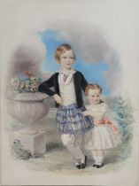 A 19th century English School, 'Portrait of two children', unsigned, according to label verso